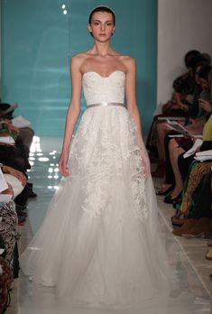 Brides.com: Lace Wedding Dresses from Spring 2013. Lace Wedding Dress: Reem Acra. Heavenly lace, price upon request, Reem Acra  See more Reem Acra wedding dresses