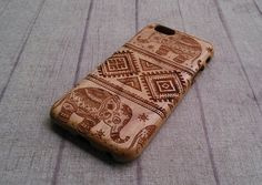 Natürliche Holz Samsung Galaxy Fall, Aztec Elefanten, Samsung Galaxy S3, S4, S5 Fall möglich, Holz graviert Holz Telefon-Case, Geschenk, Zubehör