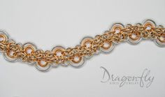 Rain Drops // Japanese chainmaille brass and silver bracelet