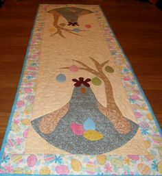 Easter Whimsical Eggs Quilted Table Runner Yellow by HollysHutch