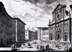 Giuseppe Zocchi Piazza Antinori con la chiesa San Michele e Bartolo nel 1744