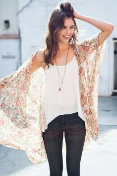 """I like the way the tank top is different lengths at the bottom and I could do a """"kimono top"""" like this in a shear fabric in the spring. Summers are just too hot for this sort of thing. I need wide strapped tank tops. Brandy ♥ Melville   Alexis Kimono Top - Clothing"""