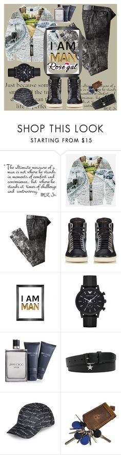 """rosegal extra"" by rikyy ❤ liked on Polyvore featuring Yves Saint Laurent, Bobby Berk Home, Emporio Armani, Jimmy Choo, Givenchy, Armani Jeans, men's fashion and menswear"
