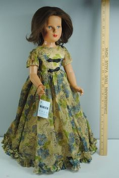 Vintage Composition 1940's Monica Doll Hollywood HTF Original Tag Rooted Hair