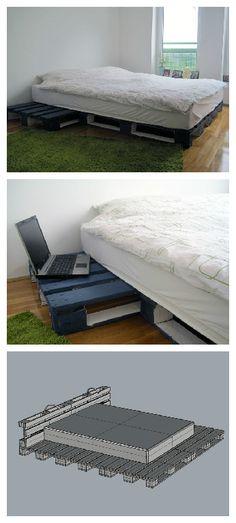 #Bedroom, #PalletBed, #PalletNightstand, #RecycledPallet