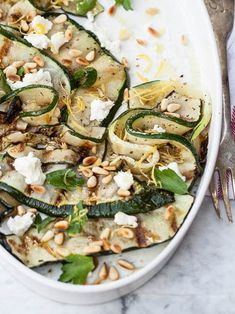 awesome Grilled zucchini with goat cheese and toasted pine nuts is a super simple, fresh...