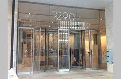 1290 Avenue of the Americas Entrance Signage, Revolving Door, Corridor, Glass Door, America, Doors, Building, Ideas, Home Decor