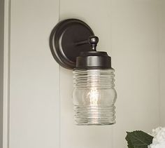 Elliot Glass Jar Indoor/Outdoor Sconce #potterybarn  gotta love anything that resembles a jelly jar!