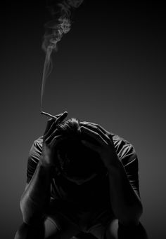 Depressed man smoking cigarette sitting on chair on black Premium Photo Smoke Photography, Shadow Photography, Photography Poses For Men, Portrait Photography Men, Smoke Wallpaper, Dark Wallpaper, Cigarette Men, Cigarette Smoke, Night Photography
