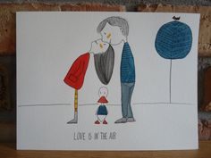 Love is in the air, Original Illustrations, Illustration watercolor, Watercolor art drawing, black ink, kiss, love by NataliaKasperowArt on Etsy
