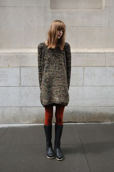 sweater dress with red tights and boots Fashion Outfits, Womens Fashion, Fashion Trends, Fashion Ideas, Textiles, Autumn Winter Fashion, Winter Style, Well Dressed, What To Wear