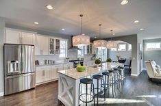 Transitional Kitchen with Glass panel, Breakfast bar, Flush, Kitchen island, One-wall, Flat panel cabinets, Subway Tile