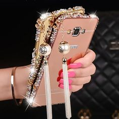 Amazon.com: [1-Pack][2-IN-1]Samsung Galaxy J7 Case, AMASELL Luxury Bling 3D Sparkle Diamond Mirror+Aluminum Metal Frame With Pearl Tassels Hard PC Back Cover for SM-J700F /SM-J700P,2015 ( (Rose Gold with bling): Cell Phones & Accessories