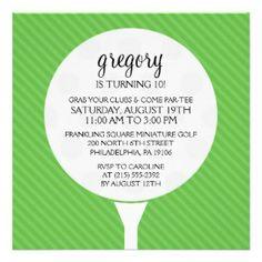 golf invitation | Green Golf Ball Miniature Golf Birthday Party Invitations