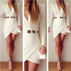 Cheap Sexy V Neck Long Sleeves Asymmetrical White Polyester Mini Dress_Dresses_Womens Clothing_Cheap Clothes,Cheap Shoes Online,Wholesale Shoes,Clothing On lovelywholesale.com - LovelyWholesale.com