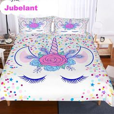 3 Pieces Sleepwish Sweet Floral Heart Bedding Rainbow Blue Yellow Orange Pink King Romantic Design Duvet Cover Set