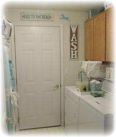 Beach-Shabby Laundry inspired by Pinterest!  Beverage dispenser instead of ugly detergent bottles!