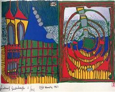 Hundertwasser, House and Spiral in the Rain. WikiPaintings.org - the encyclopedia of painting