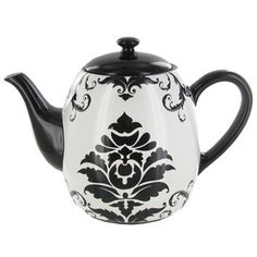 Black & White Damask Ceramic Teapot | Shop Hobby Lobby
