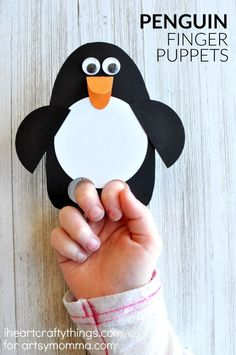 Kids Will Love This DIY Penguin Puppet Craft! - - This DIY penguin puppet craft is simple to make & kids will love playing with their creation! It can be made in less than 15 minutes. Animal Crafts For Kids, Winter Crafts For Kids, Crafts For Kids To Make, Toddler Crafts, Craft Activities, Preschool Crafts, Fun Crafts, Arts And Crafts, Preschool Age