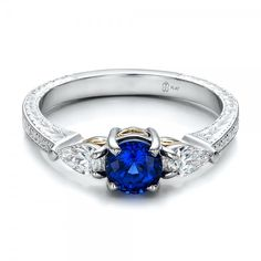 Custom Blue Sapphire and Diamond Hand Engraved Engagement Ring #ColoredEngagementRings