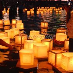 10X Chinese Square Paper Wishing Floating Water River Candle Lanterns Lamp Light