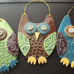 Blue Owl ceramic hanging decoration - great ideas for salt dough and crafts