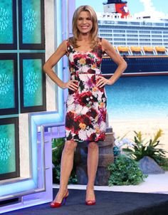 LAUNDRY: Spandex dress in purple, lavender, yellow, green, white abstract floral print, sweetheart neckline, sleeveless, bodice w/insets, straight skirt   Vanna White's dresses   Wheel of Fortune