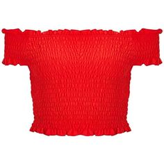Miss Selfridge Red Shirred Bardot Crop Top (€27) ❤ liked on Polyvore featuring tops, crop top, shirts, red, ruched top, red top, shirt crop top and cotton shirts