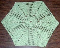 Doily  Leafy Hexagon  Small Hand Crocheted Doily by BeyondCrochet