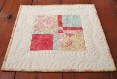 Quilted Table Topper Patchwork Yellow Table Topper Quited