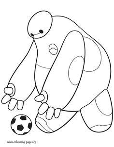 Baymax kicking a soccer ball coloring page