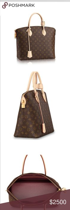 Louis Vuitton Lockit MM Monogram PM Satchel M40606 Classic Monogram canvas is beautifully matched with an iconic house design in the shapely form of the Lockit MM. Its elegance is enhanced by the alluring burgundy goat lining that adorns its interior. Excellent condition, comes with original box & dust bag. 100% Authentic!                                 38 x 31 x 17 cm (LxHXW). Almost no patina!  -Natural cowhide trimmings including keyholder -Toron handles -Golden color metallic pieces…