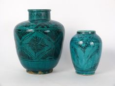 Lot of 2 Islamic Turquoise Glazed Persian Ceramic Vases c.18th/19th century