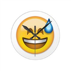 Smiling Face With Open Mouth And Cold Sweat Emoji Round Clocks