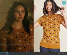 cbe169a2744 Veronica s mustard polka dot top on Riverdale. Outfit Details  https    wornontv