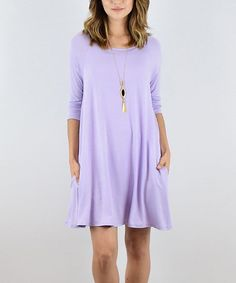 Lilac Pocket Three-Quarter Sleeve Tunic