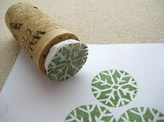 cork stamping--create stamp form styrofoam and glue to cork