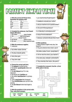 A collection of English ESL worksheets for home learning, online practice, distance learning and English classes to teach about present, simple, present simple English Resources, English Activities, English Tips, English Lessons, Learn English, Teaching English Grammar, Grammar Lessons, English Vocabulary, Grammar Activities