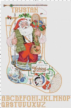 I'd+Rather+Be+Fishing+Santa+Stocking+Counted+Cross+by+Berwickbay,+$2.00