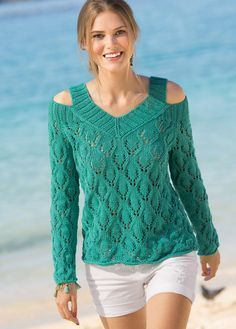 Пуловер с открытыми плечами - схема вязания спицами. Вяжем Пуловеры на Verena.ru