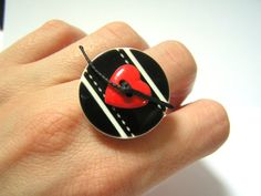 Heart button ring