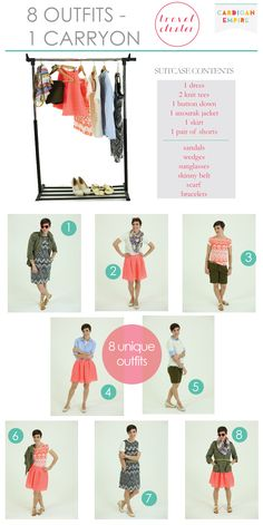 How to Pack 8 Outfits in 1 Carryon, Women's Travel Cluster, Suitcase Packing for Spring Break and Summer Vacation