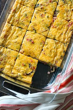 An easy & light brunch egg dish LOADED with veggies, ham and cheese.