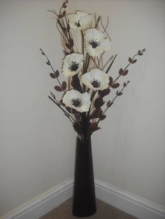 cream silk flower arrangement brown vase 1 metre tall