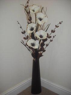 cream silk flower arrangement brown vase 1 metre tall (perfect for the fireplace)
