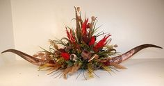 Red Flame Giant Horn Floral Centerpiece