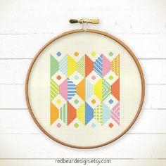 Modern Geometric Cross stitch pattern PDF Play by redbeardesign