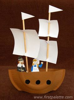 "Use paper plates, chopsticks, and index cards to make your own ""Mayflower"" ship. - Fall Crafts For Kids Thanksgiving Preschool, Thanksgiving Crafts For Kids, Fun Crafts For Kids, Summer Crafts, Preschool Crafts, Projects For Kids, Art For Kids, Fall Crafts, Craft Kids"