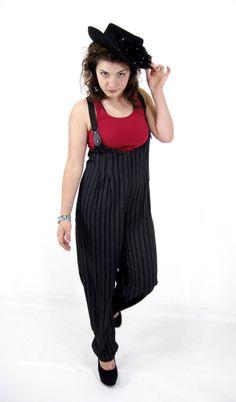 Vtg High Waist Black Pinstripe SUSPENDERS Trouser Pants Overall Grunge Slouchy